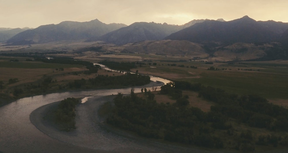 Aerial view of the Yellowstone River and Paradise Valley. (Screen grab from   Last Call  .)