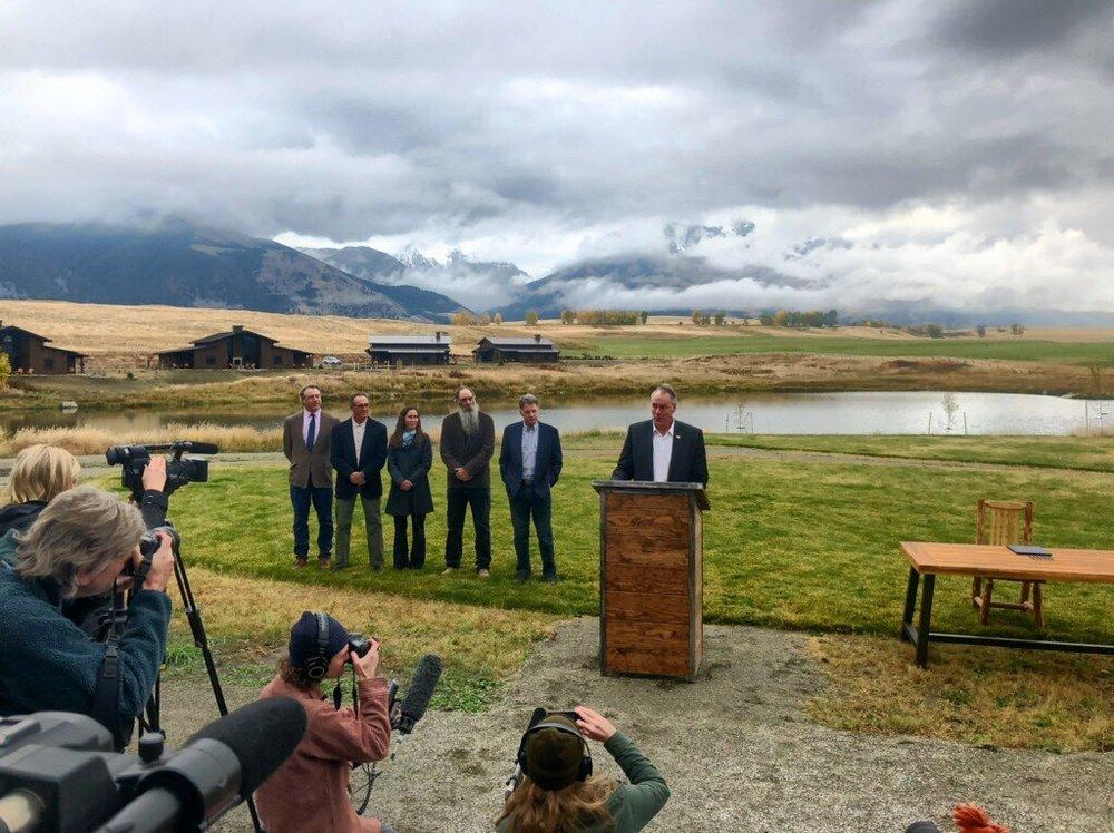 Secretary of the Interior Ryan Zinke speaks at Sage Lodge in Paradise Valley. (Photo GYC.)