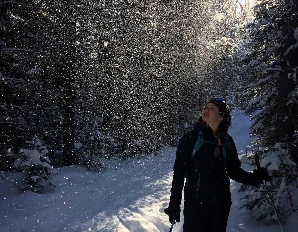 Emmy Reed nordic skiing on a favorite trail in Hyalite Canyon near Bozeman. (Photo Emmy Reed.)