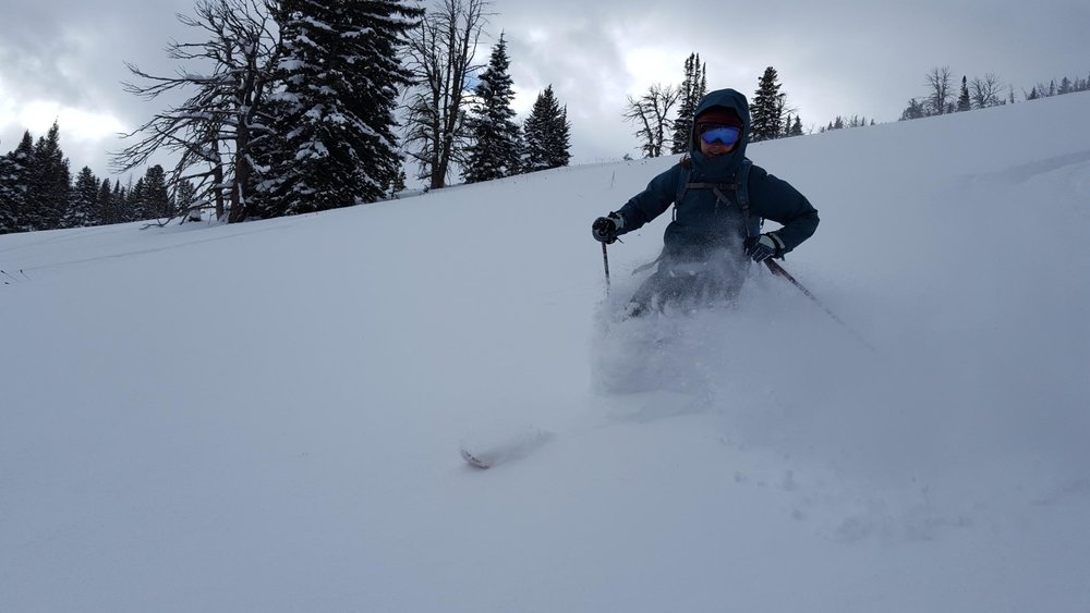 Brooke Shifrin backcountry skiing near Goose Creek in the Custer Gallatin National Forest. (Photo Brook Shifrin.)
