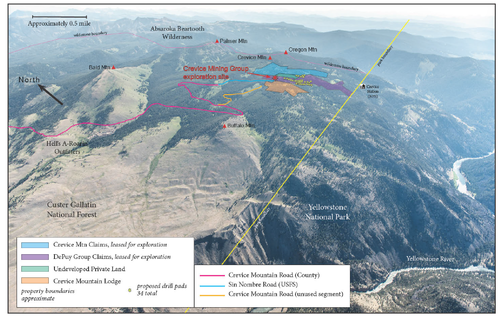 Crevice Mining Group's proposed exploration site is less than a mile from Yellowstone. (Photo Bill Campbell, Graphics GYC.)