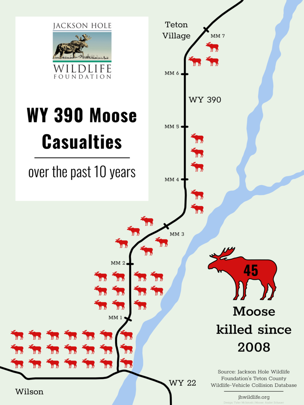 A Jackson Hole Wildlife Foundation graphic shows deadly areas for moose in Teton County, Wyoming. (Photo Jackson Hole Wildlife Foundation.)
