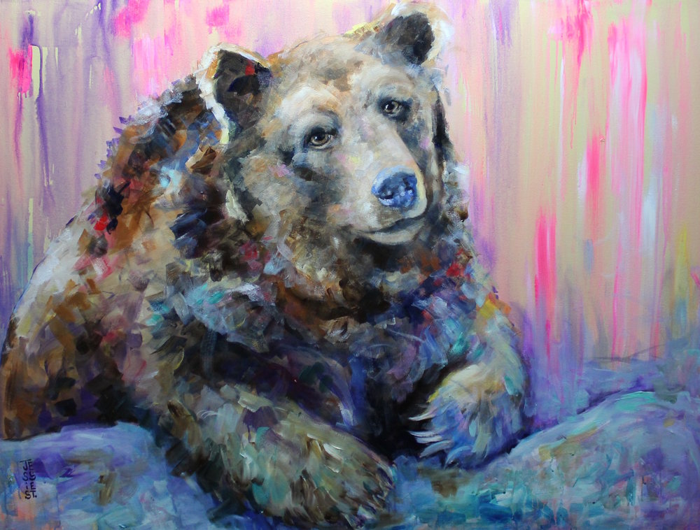 """""""Don't Feed the Bears""""  3'X4"""" Acrylic on canvas"""