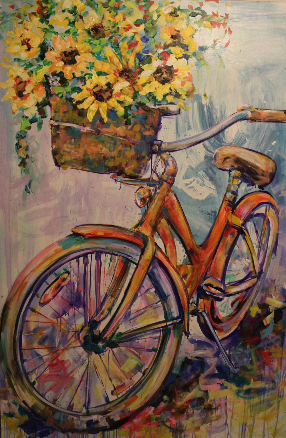 """""""Sunflower Love"""" 4'X6' Acrylic on canvas"""