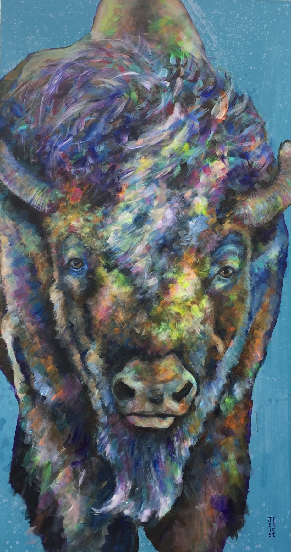 "Bison Love; Acrylic on canvas; 52"" x 40""."