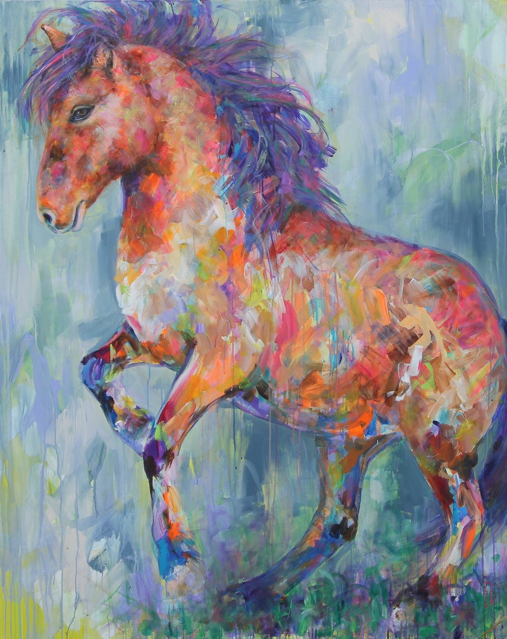 "Wild and Free; 48"" x 60""; Acrylic on canvas."