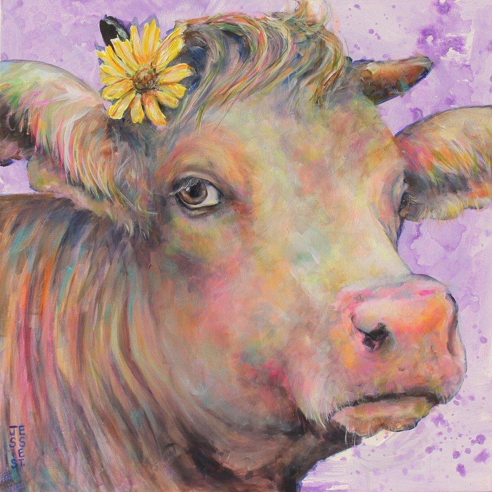 "Brown-Eyed Sam; 24"" x 24""; Acrylic on canvas."
