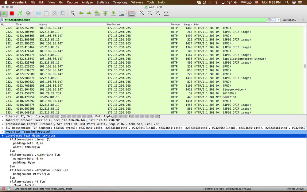 WIreshark http response sample