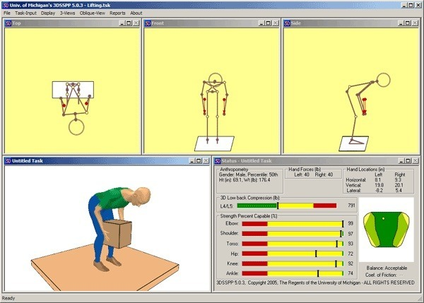 Ergonomics - Assessing tissue load, metabolic demand and risk of various postures and movements