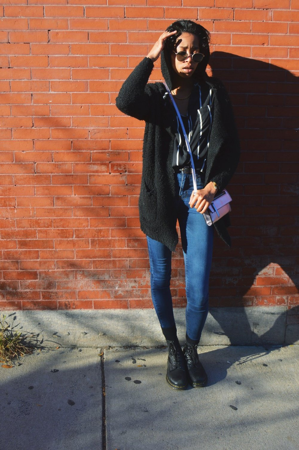 Brandy Melville  sweater, Striped Tunic from  Forever 21 , Jeans & Doc Martens from  Nordstrom ,  Primark  CrossBody