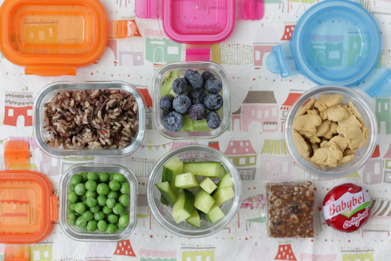 Wild Rice, Veggies, and Fruit toddler lunch idea via yummytoddlerfood.com