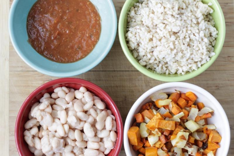 Veggie-packed enchilada ingredients via yummytoddlerfood.com