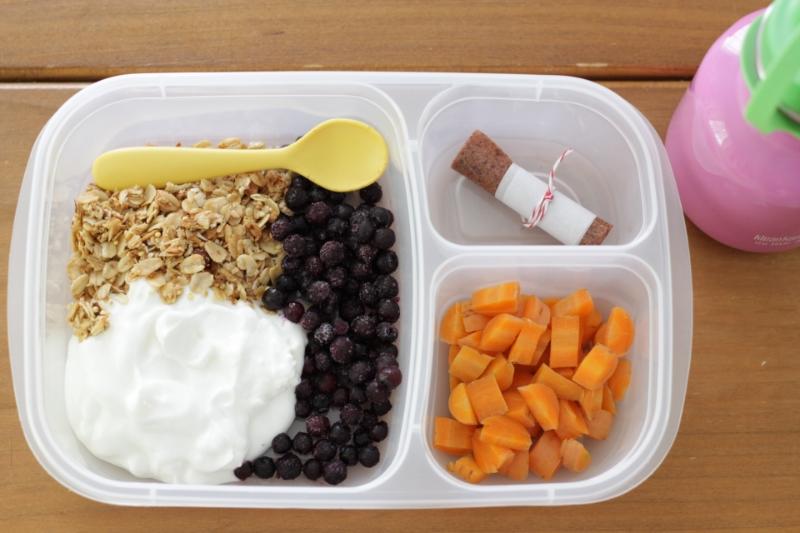 Yummy Toddler Lunch: Yogurt Granola Bowl with Easy Sides l yummytoddlerfood.com
