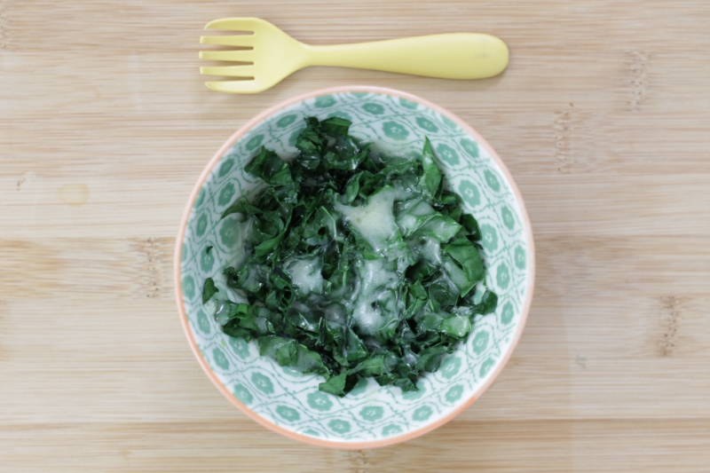 Quick and Easy Cheesy Greens l yummytoddlerfood.com