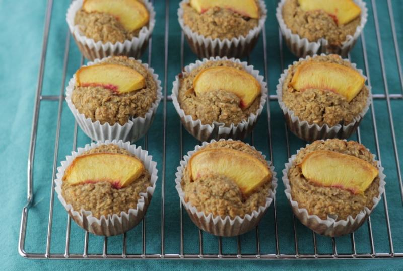 Gluten-free Banana Peach Muffins yummytoddlerfood.com