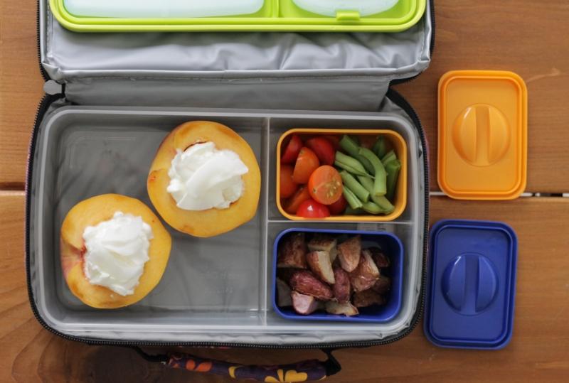 Yummy peaches and yogurt lunch (yummytoddlerfood.com)