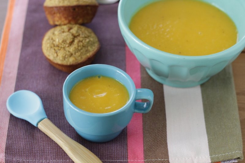 Super easy Butternut Squash and Honeycrisp Apple Soup that even your toddler will love