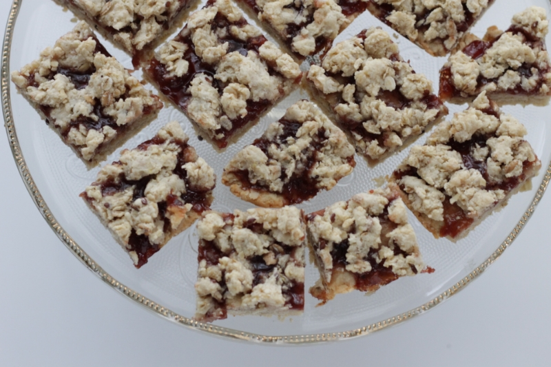 Easy to make Oatmeal Jam Bars, like a cross between a fruit and grain bar and shortbread!