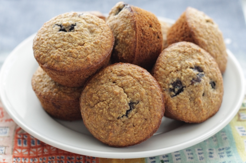 One-Bowl Blueberry Banana Muffins with Flax (made without gluten, dairy, or nuts)