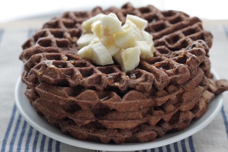 Easy Cocoa Waffles with Banana, perfect for Valentine's Day or any weekend!