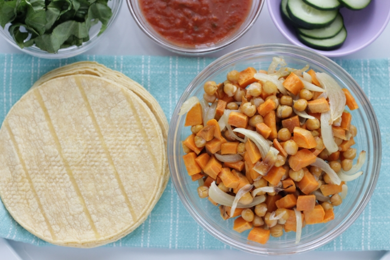 Super simple family dinner idea of roasted sweet potato and chickpea tacos
