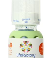 Lifefactory 4-Ounce Glass Baby Bottle with Silicone Sleeve