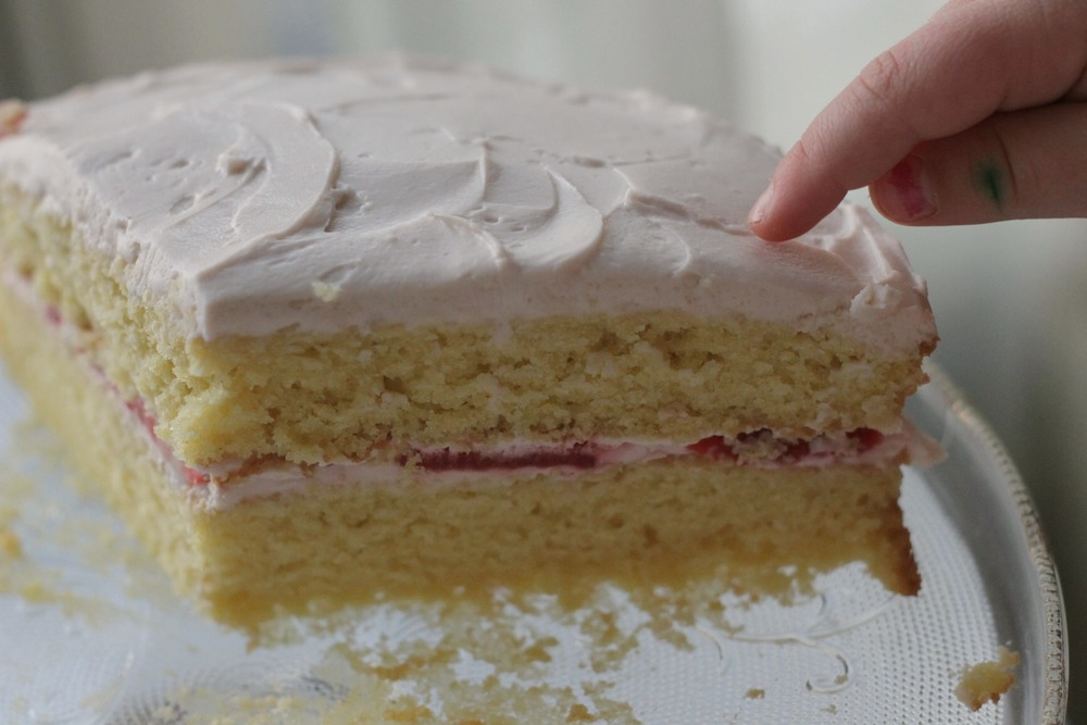Easy Vanilla Layer Cake with creamy strawberry frosting