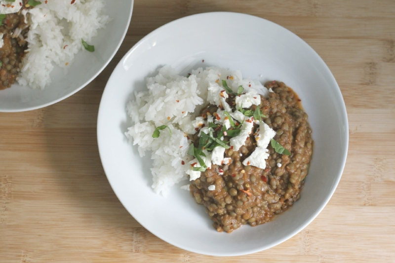 Lentils and tomatoes with rice