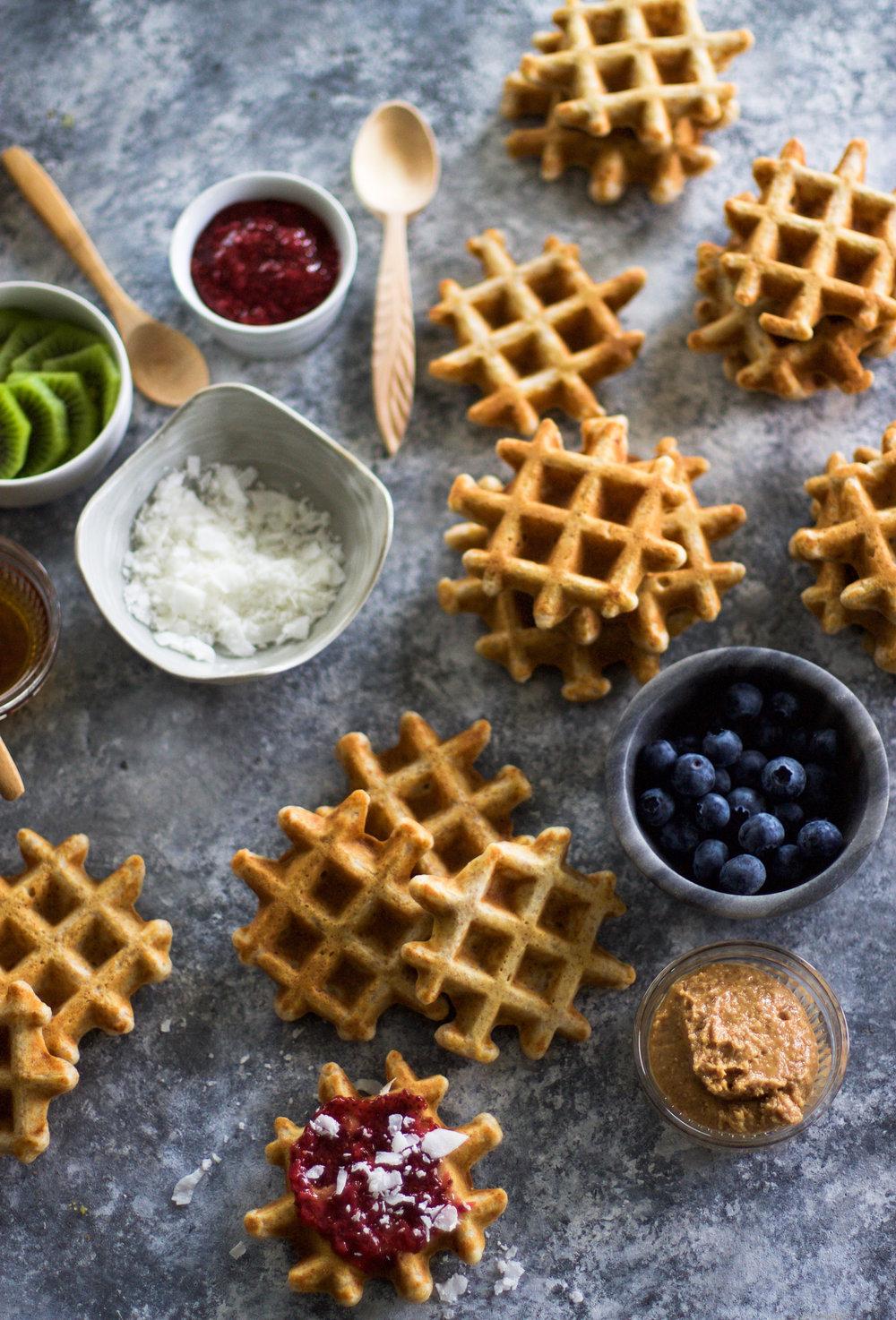 Mini Vanilla Waffles from First Bites cookbook