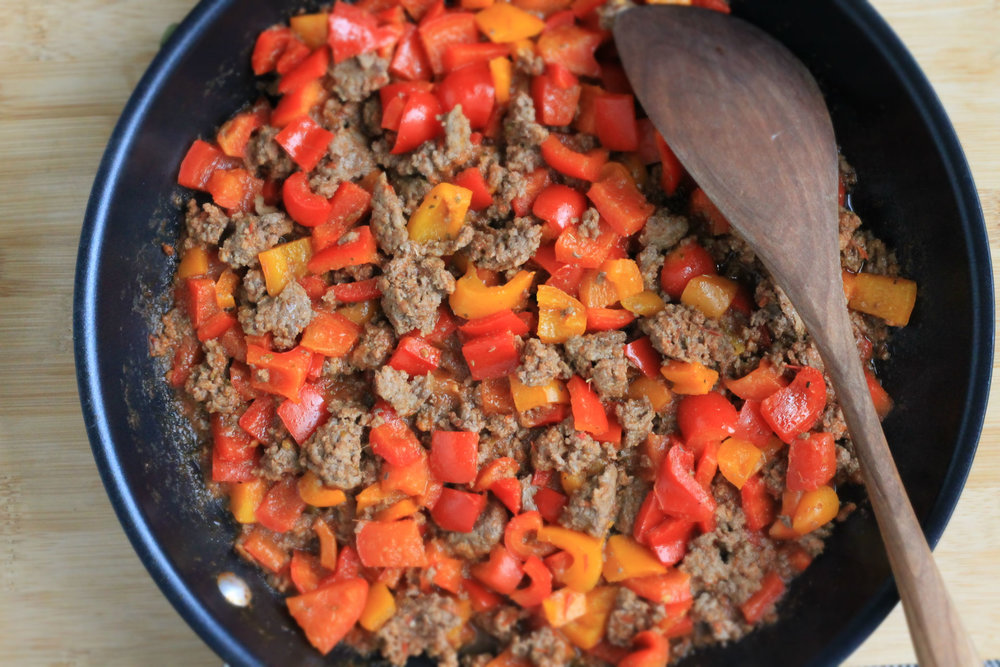 Peppers and beef for (Un)Stuffed Peppers