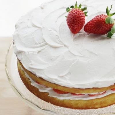 Lower Sugar Vanilla Cake