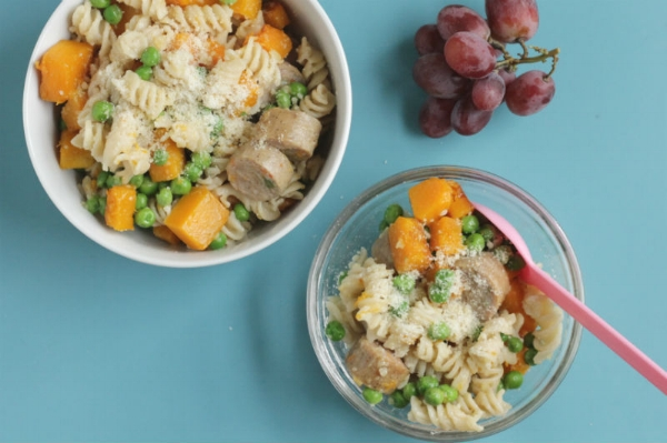 5-Ingredient Butternut Squash Pasta with Sausage and Peas