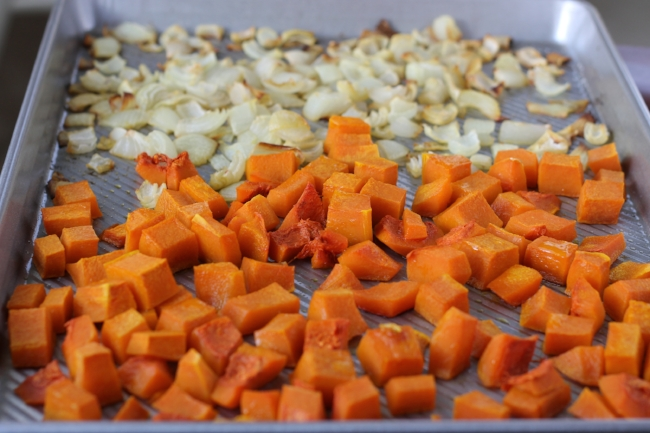 roasted squash and onions for shortcut risotto