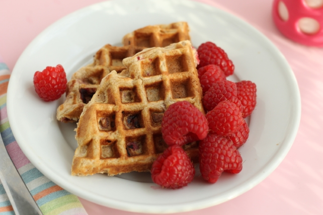 raspberry waffle serving