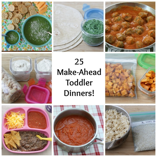 25 Make-Ahead Toddler Dinners via yummytoddlerfood.com