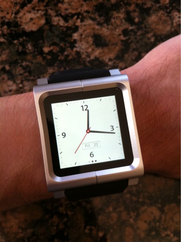 iPod Nano mounted in Lunatik watchband. Ultimate GEEK watch!