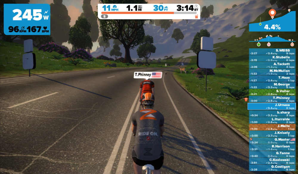 Holding Taylor Phinney's wheel up Cold'Zwift @GoZwift