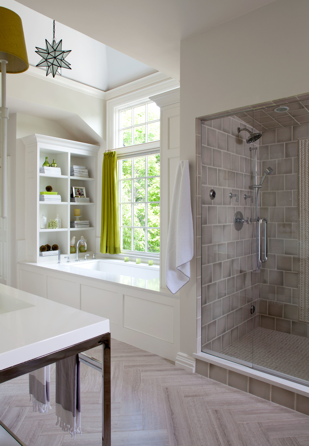 Transitional luxury custom home builds and remodels for High ceiling bathroom ideas