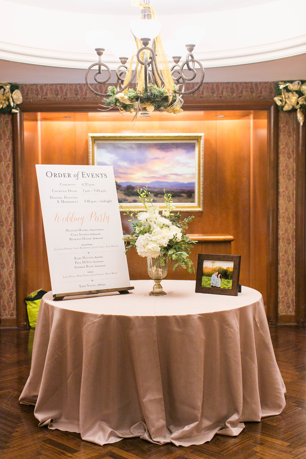When people walked into the hall for the ceremony, they were greeted by this table with a poster-sized Order of Events, some flowers and a picture from our engagement shoot.