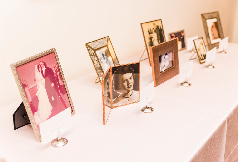 Guests were then greeted by a family and remembrance table, in which we shared pictures of our parents' and grandparents' wedding/courtship days.