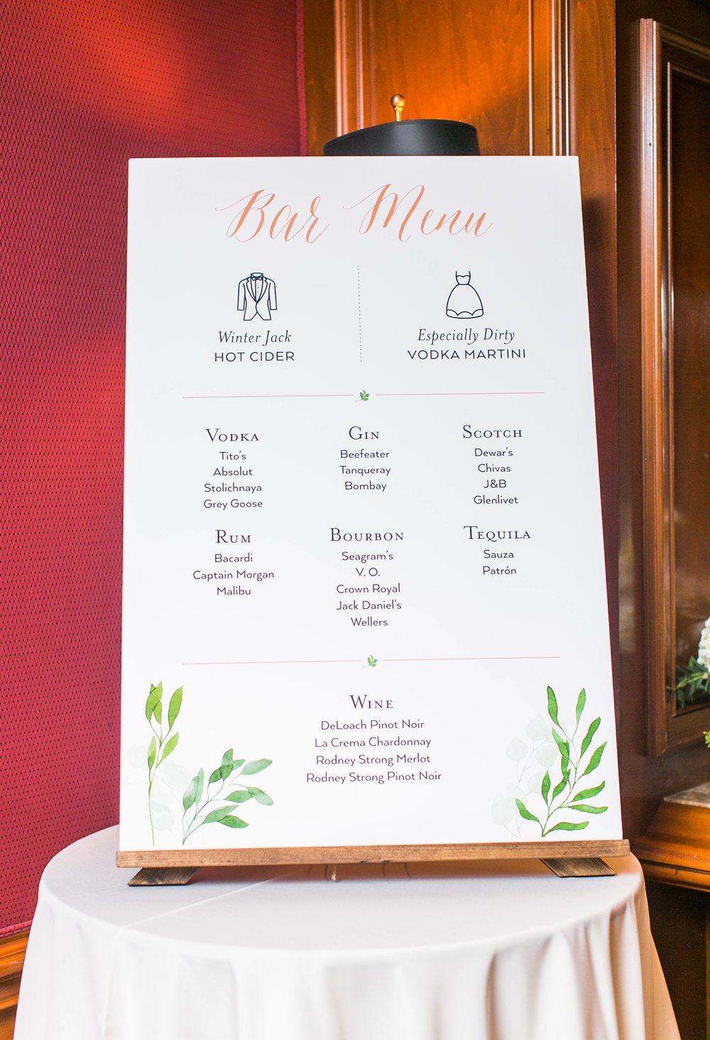 After the ceremony, there was a cocktail hour and a poster-sized bar menu.
