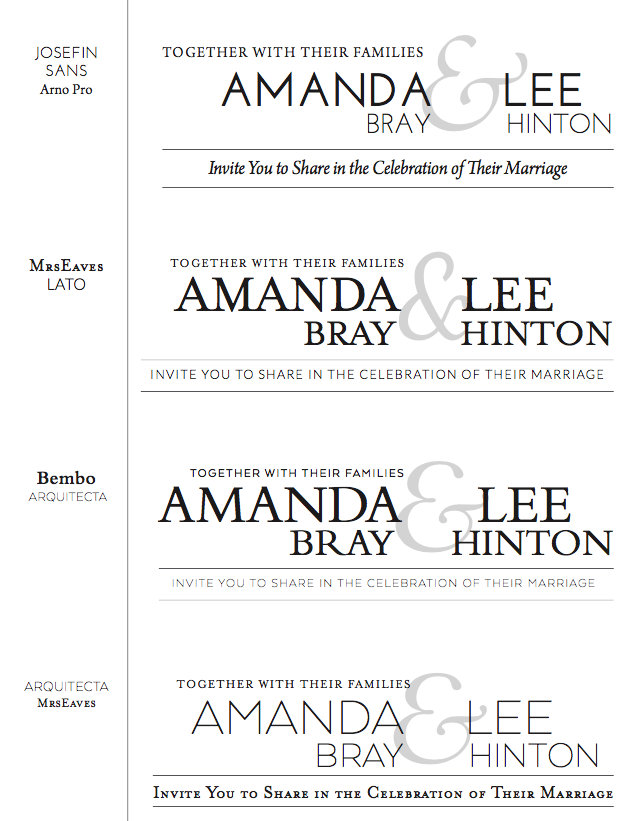 Branding guidelines sheet for the wedding included recommended typeface combinations.