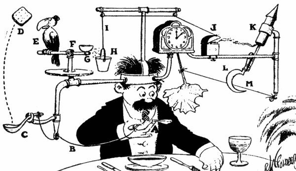 "Rube Goldberg's Professor Butts demonstrates the ""Self-Operating Napkin."""