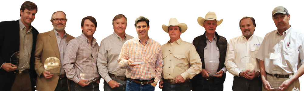 From left to right: Patrick McNamara (Dullnig Ranch Sales) // Allen Crumley (Williams Trew) // Harlan Ray (Burgher-Ray Ranch Sales) // David Burgher (Burgher-Ray Ranch Sales) // Robert Dullnig (Dullnig Ranch Sales) // Chip Cole (Chip Cole, Ranch Broker) // Sam Middleton (Chas. S. Middleton and Son) // Minor Taylor (Property Connections Real Estate) // David Culver (LANDTX, Inc.)