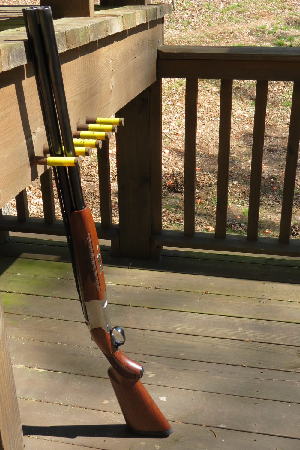 The 12-gauge Ruger Red Label at a sporting clays station at the Foxhall Resort and Sporting Club.