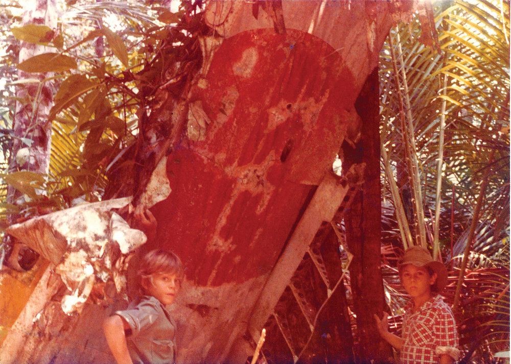 Bernard (L) and brother Paul (R) stand next to a fallen Japanese Zero Wing. (The rest of the plane remained far above in the giant tree canopy above the swamp)