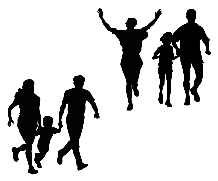 silhouettes on a run