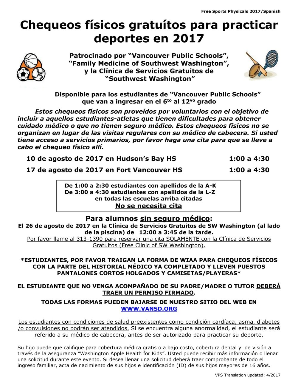 Free Sports Physicals In Vancouver 211info