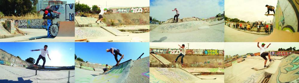"""(4) Compilación de stillsde la autoconstrucción del lugar extraídas del video """"Sunrise SkateboardsFeliz Navidad 2012 Roswell""""disponible en <https://vimeo.com/56270949>© Joaquín Cerda D. para LOFscapes"""
