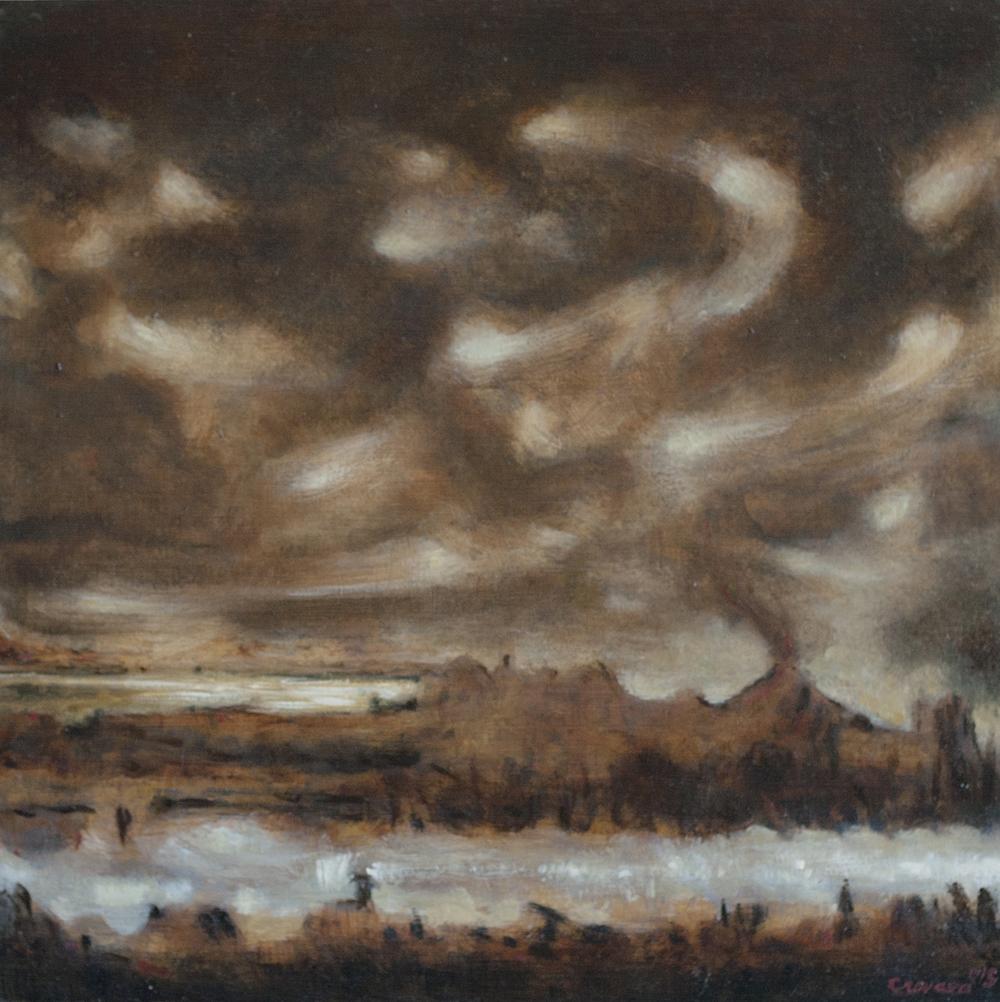 (3)  Atmósfera en erupción. Fusión gutural de Dioses expectantes  (2015), óleo sobre madera (35 x 35 cm) © Leonardo Cravero G.